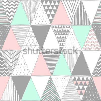 Naklejka pastelowe kolory wektor wzór z trójkątów. Reprodukcja mozaiki geometrycznej. Streszczenie tło wektor. Kreatywny szablon graficzny. Tapeta, tkanina, tekstylia, papier pakowy. Wyciągnąć rękę