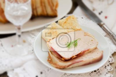 Naklejka Pasztet z Turcji i wieprzowina w boczku