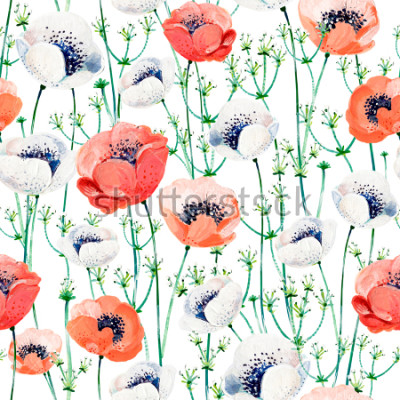 Naklejka Pattern consist of white and coral Anemones, white inflorescences on the green stems.