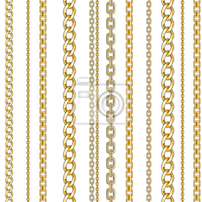 Naklejka Pattern with gold chain isolated
