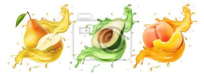 Naklejka Pear, avocado. peach Fresh fruits and splashes, 3d realistic vector icon set