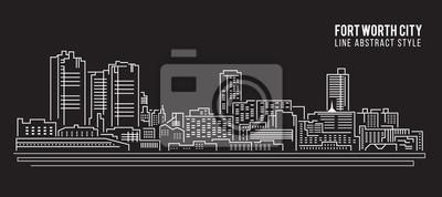 Naklejka Pejzaż budynku Linia Ilustracja sztuki Vector design - Fort Worth miasta