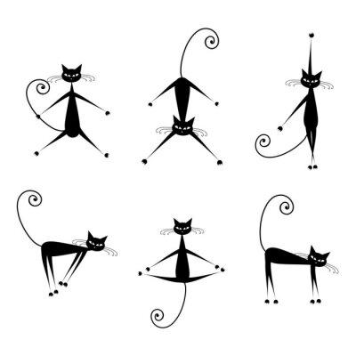 Naklejka Pełne wdzięku koty czarne sylwetki do projektowania