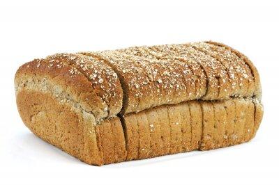 Naklejka pełnoziarnisty krojonego chleba na białym tle