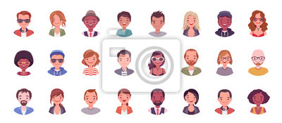 Naklejka People avatar big bundle set. User pic, different human face icons for representing person in a video game, Internet forum, account. Vector flat style cartoon illustration isolated on white background