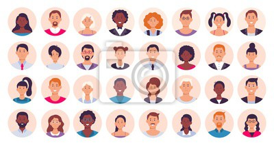Naklejka People avatar. Smiling human circle portrait, female and male person round avatars flat icon vector illustration collection