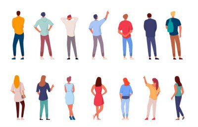 Naklejka People character. Man and woman view from back set isolated on white background. Young human person diversity. Businesspeople, student, worker set. Vector people standing character illustration