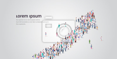 Naklejka people crowd gathering in shape of financial arrow up symbol social media community successful growth concept different occupation employees group standing together full length horizontal copy space