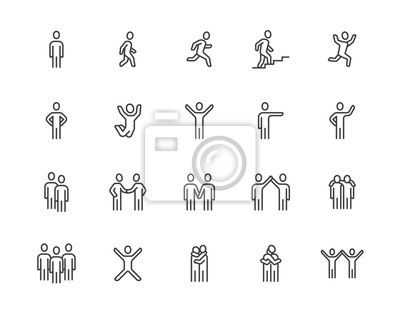Naklejka People flat line icons set. Person walking, running, jumping, climbing stairs, happy man, company leader, friends hugs vector illustrations. Human outline signs. Pixel perfect 64x64. Editable Strokes