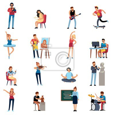 Naklejka People hobbies. Photographer happy teenage artist writer illustrator designer cartoon vector set