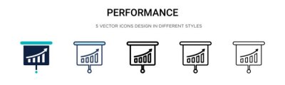 Naklejka Performance icon in filled, thin line, outline and stroke style. Vector illustration of two colored and black performance vector icons designs can be used for mobile, ui, web