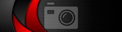 Naklejka Perforowany transparent w czarne technologie z czerwonymi falami