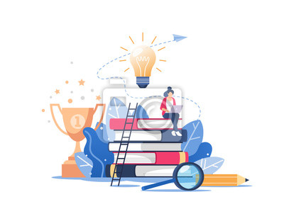 Naklejka Person gains knowledge for success and better ideas. Online education or business training concept, distance courses, study guides, exam preparation, home schooling. Vector illustration.