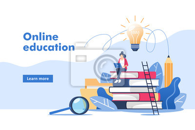 Naklejka Person gains knowledge for success and better ideas. Online education or business training. Vector illustration for mobile and web graphics.