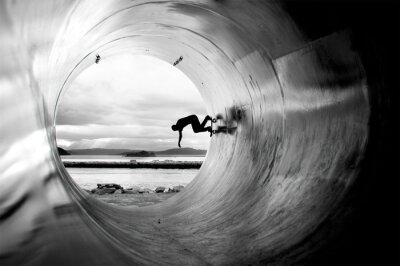 Naklejka Person Skateboarding In Tunnel