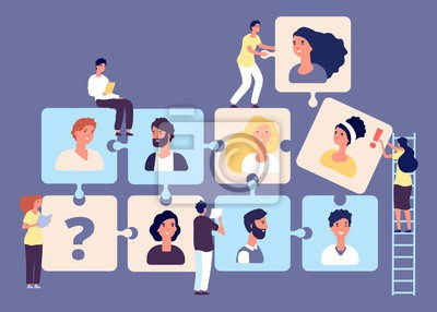Naklejka Personnel change concept. Recruiting, job search, human resource, employment agency vector illustration. Puzzle business team with tiny headhunters characters. Business employment team and headhunter