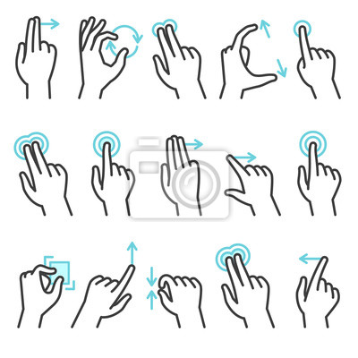 Naklejka Phone hand gestures. Hand gesture for touchscreen devices, slide touch phone. Zoom move swipe press finger actions, vector symbols set