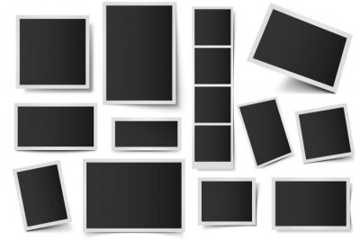 Photo card frames. Rectangular instant photos, square snapshot frame and photo snap with realistic shadow vector set. Empty 3d frames collection. Blank borders isolated on white background