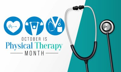 Naklejka Physical therapy month is observed every year in October, also known as physiotherapy, is one of the healthcare professions provided by physical therapists who promote, maintain, or restore health.