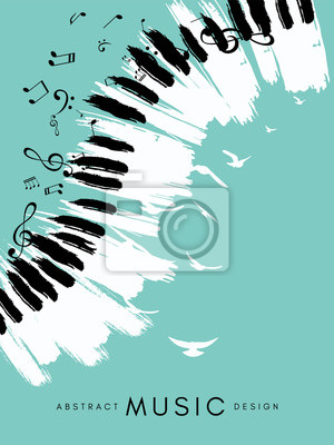 Naklejka Piano concert poster. Music conceptual illustration. Abstract style blue background with hand drawn piano keyboard, notes and birds