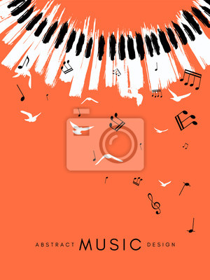 Naklejka Piano concert poster. Music conceptual illustration. Abstract style coral background with hand drawn piano keyboard and flying notes and birds.