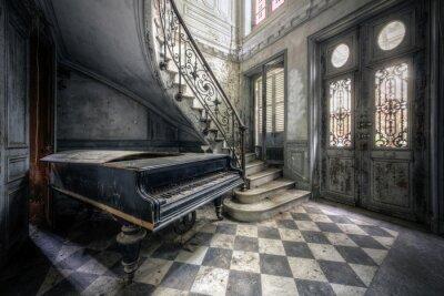 Naklejka Piano in abandoned small castle in France