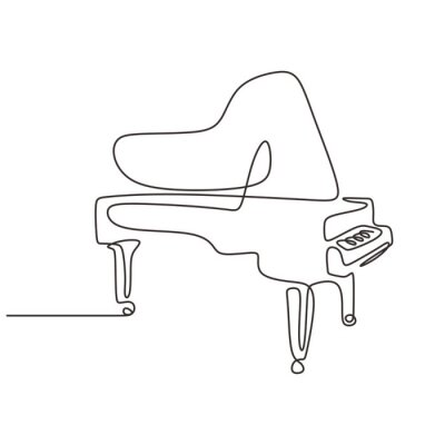 Naklejka Piano one line drawing. Continuous single hand drawn lineart of classical music instrument minimalism design.