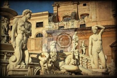 Piazza Pretoria, Palermo, tekstury retro