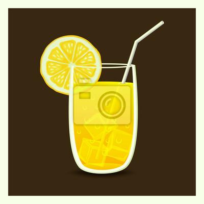 Naklejka pić w szklance ze słomką - ilustracji wektorowych