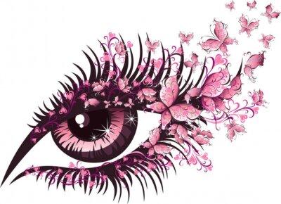 Naklejka Piękna kobieta oko z motylami