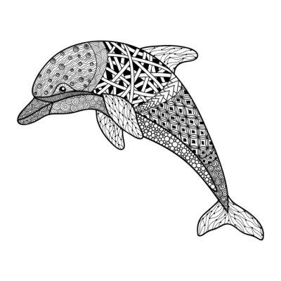 Naklejka piękna monochromatyczna czarno-biały delfin z elementami dekoracyjnymi rozmachem