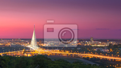Naklejka Piękna panorama miasta Belgrad o zmierzchu