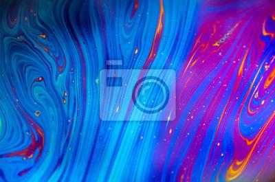 Naklejka Piękna psychodeliczna abstrakcja tworzona przez światło na powierzchni bańki mydlanej