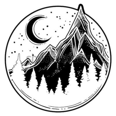 Naklejka Piękna wektorowa ilustracja z natura krajobrazem - góry, sosnowy las, gwiazdy, księżyc. Sztuka tatuażu. Nieskończona przestrzeń, symbole medytacji, podróże, turystyka.