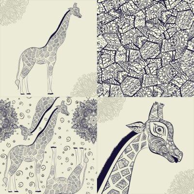 Naklejka Piękne dorosłych Żyrafa. Ręcznie rysowane ilustracji ozdobnych żyrafy. żyrafa na białym tle. Jednolite wzór z ozdobnym żyrafa