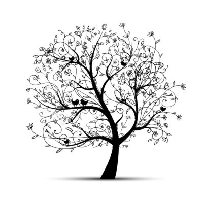 Naklejka Piękne drzewo sztuki, czarny sylweta projekt