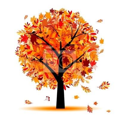 Naklejka Piękne jesienią drzewa dla projektu