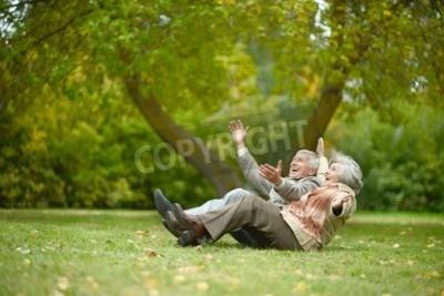 Naklejka Piękne Kaukaski para starszych w parku jesienią