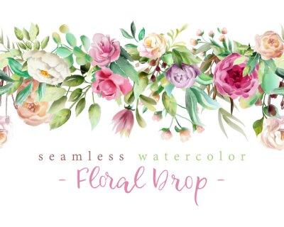 Naklejka Piękne kwiaty akwarela - fioletowe róże, piwonia creaem i kwiatowy zieleni gałęzie i liście bez szwu tileable upuść