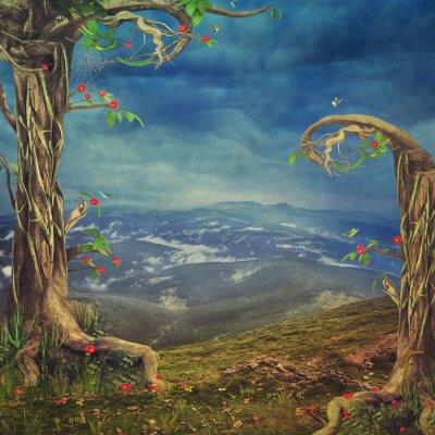Naklejka Piękne lasy scena z drzew i traw w górach