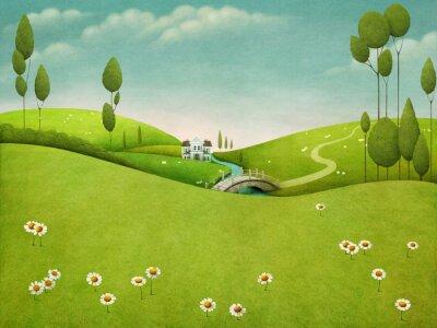 Naklejka Piękne pastelowe tło z krajobraz z rzeki i dom i drzewa