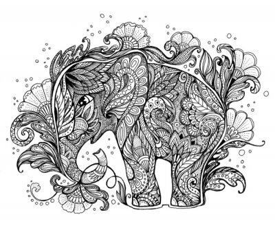 Naklejka Piękne ręcznie malowane słonia z ornamentem roślinnym