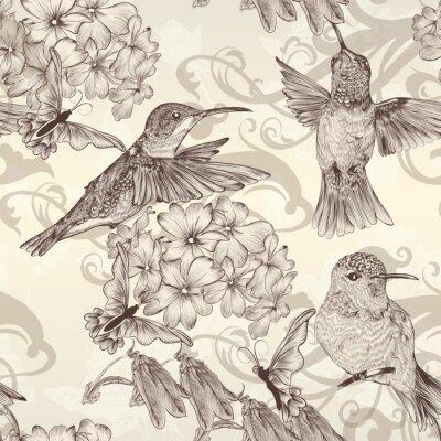 Naklejka Piękne tła bez szwu tapety z humingbirds w rocznika