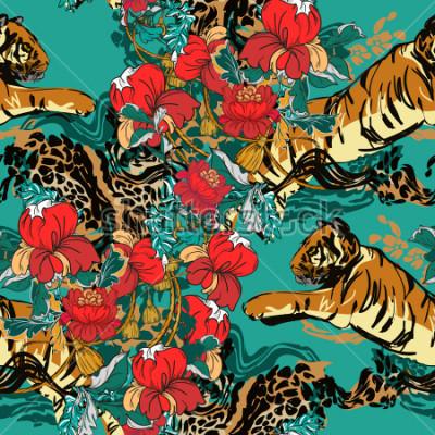 Naklejka Piękny abstrakcjonistyczny tygrys z czerwonymi kwiatami i trendu wzorem bezszwowymi. Zaprojektuj tkaninę.