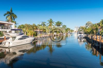 Naklejka Piękny Kanał Fort Lauderdale na Florydzie