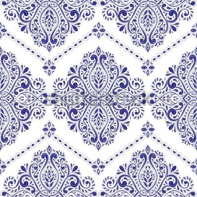 Naklejka Piękny niebieski i biały wzór kwiatowy. Vintage, paisley elements. Motywy tradycyjne, etniczne, tureckie, indyjskie. Idealne do tkanin i tekstyliów, tapet, opakowań lub innych pomysłów.