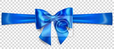 Naklejka Piękny niebieski łuk z poziomą wstążką z cieniem na przezroczystym tle
