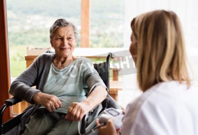 Naklejka Pielęgniarka środowiskowa i starsza kobieta podczas wizyty domowej.