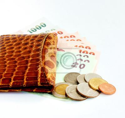 Pieniądze w torebce skóry samodzielnie na białym tle.