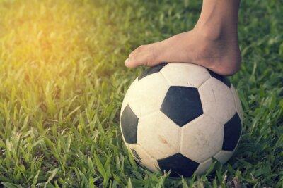 Naklejka Piłka nożna i stóp na trawie chciwości.